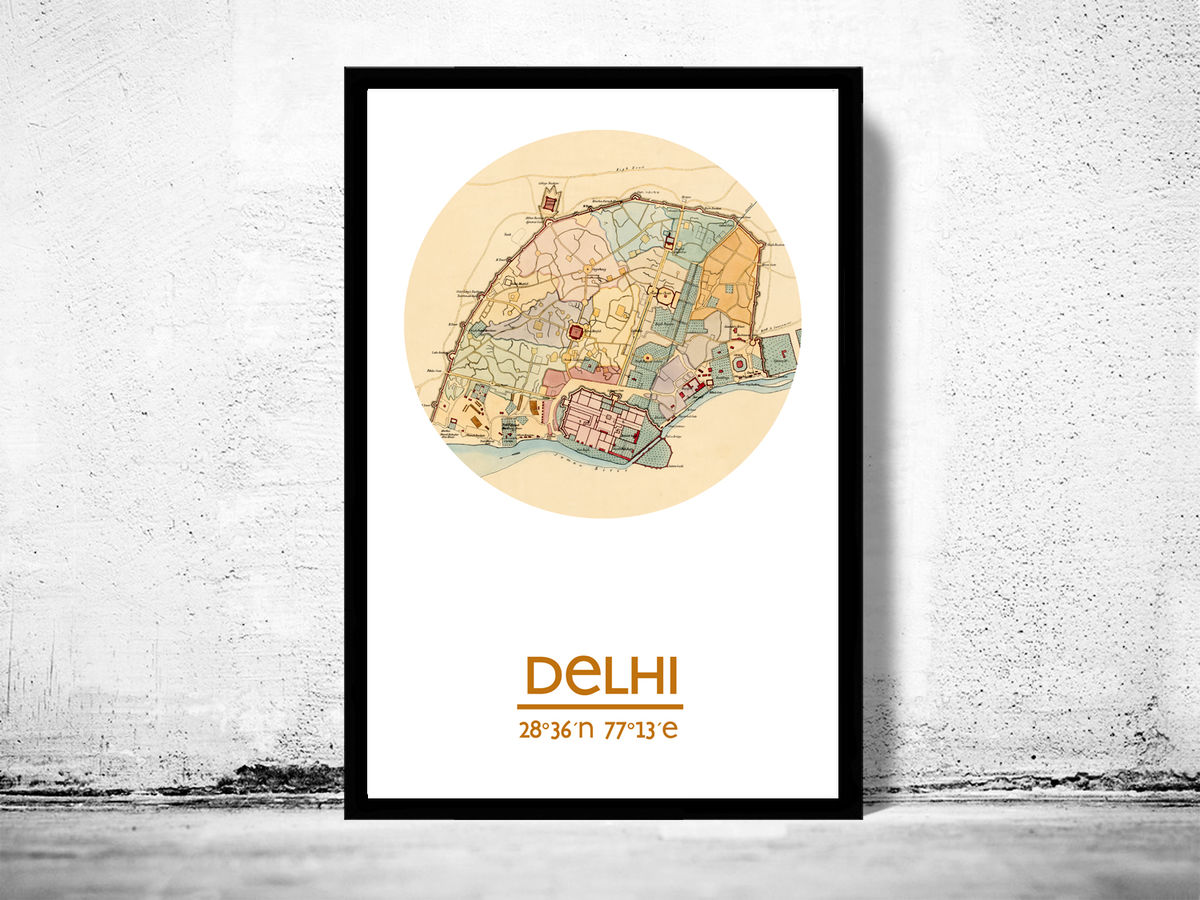 DELHI - city poster - city map poster print - product images  of