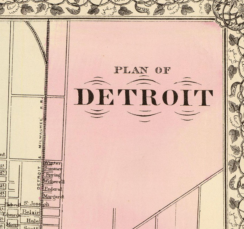 Old map of Detroit 1880 - product images  of