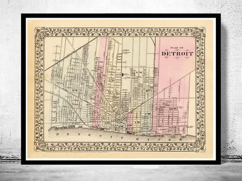 Old,map,of,Detroit,1880,detroit, detroit map, detroit poster, detroit decor, map of detroit, old maps, old maps for sale, antique maps