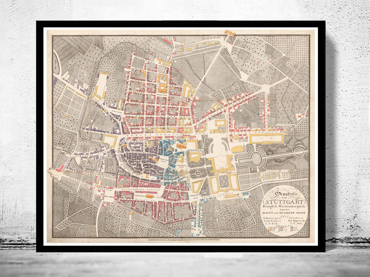 Old Map of Stuttgart Germany 1821 Vintage map - product images  of