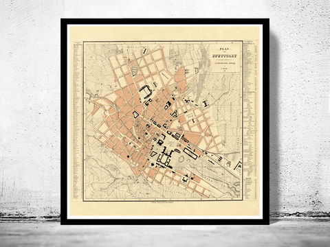 Old,Map,of,Stuttgart,,Germany,1860,Vintage,map,stuttgart,stuttgart map, map of stuttgart, stuttgart poster, old stuttgart, germany poster, stuttgart germany, old maps for sale, maps reproductions, antique map