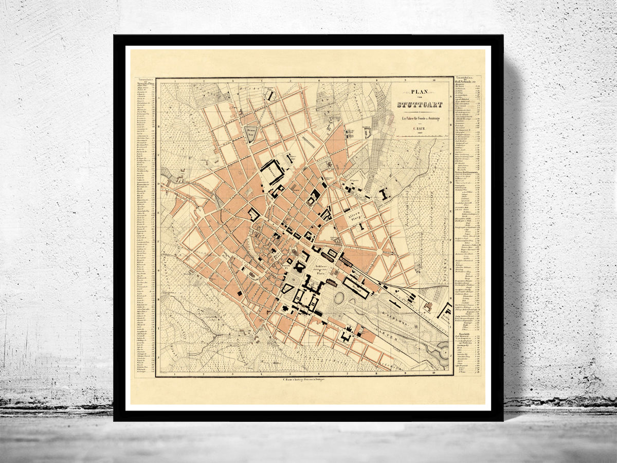 Old Map of Stuttgart, Germany 1860 Vintage map - product images  of