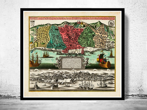 Old,Map,of,Lisbon,1735,Mapa,antigo,de,Lisboa,Portugal,mapa de lisboa, Art,Reproduction,Open_Edition,plan,panoramic_view,portugal,lisbon,lisboa,1844,old_lisbon_map,lisbon_map,lisbon_vintage,lisbon_city,map_of_lisbon,lisbon_retro,antique_lisbon