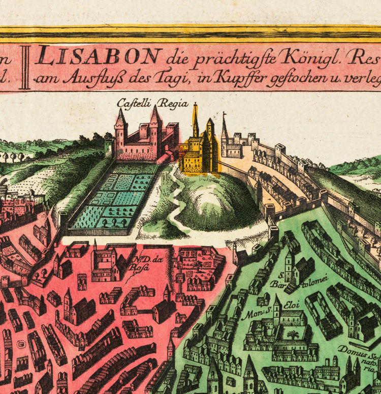 Old Map of Lisbon 1735 Mapa antigo de Lisboa Portugal  - product images  of