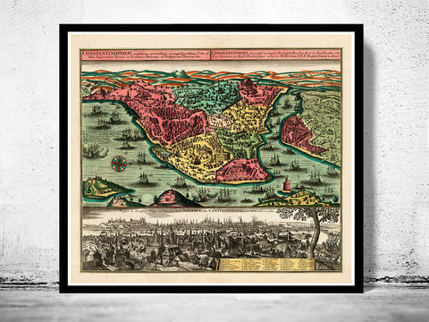 Old,Constantinople,Istanbul,Panoramic,View,1730,Art,Reproduction,Open_Edition,city,vintage,plan,medieval,engraving,historic,panoramic,old_map,cosntantinople,instambul,constantinople_map,turkey,art_turkish