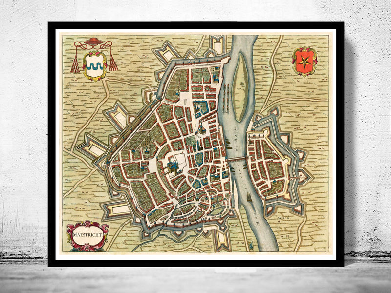Old Map of Maastricht Netherlands 1657 - product image