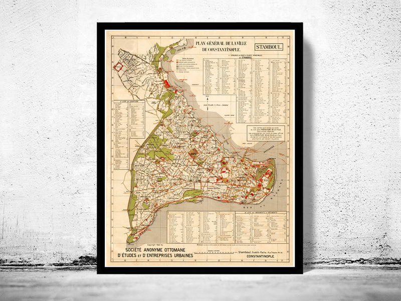 Old Map of Istanbul 1922 Constantinople Turkey  - product image