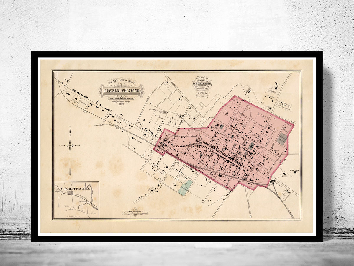 Old Map of Charlottesville Virginia 1877 - product images  of