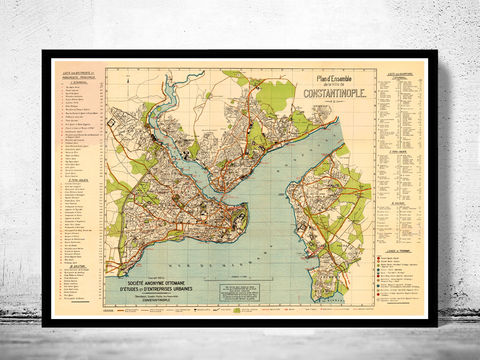 Old,Map,of,Istanbul,1922,Constantinople,Turkey,constantinople, istanbul, istanbul map, istanbul poster, map of istanbul, map of constantinople, turkey, turkey poster, old map
