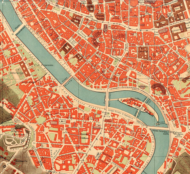 Old Map City Plan of Rome Roma Italia 1910  - product images  of