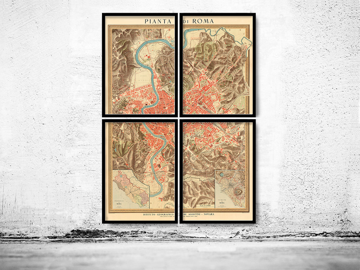 Old Map of Rome 1910 (4 pieces) - product images  of