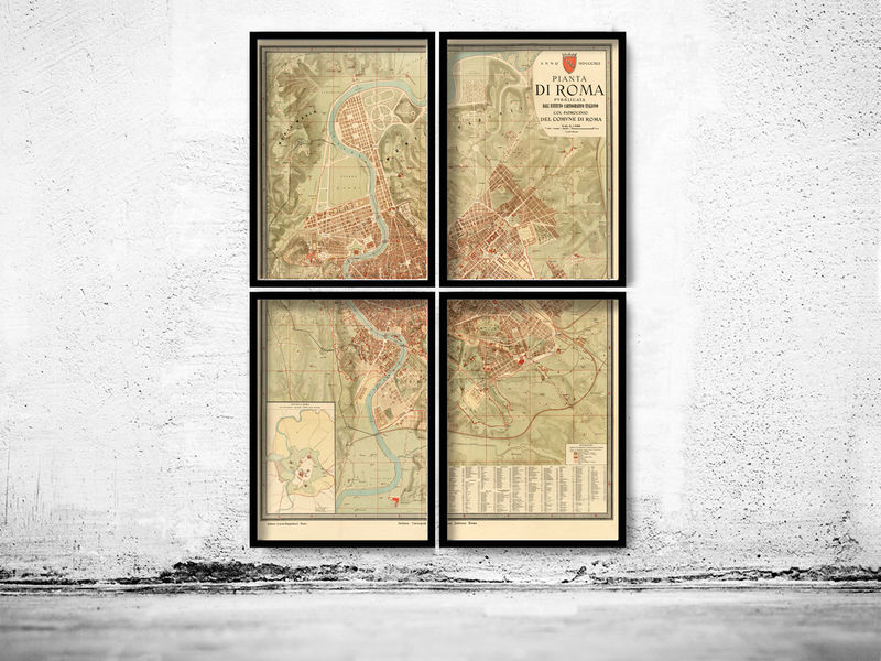 Old Map of Rome 1891 (4 pieces) - product image