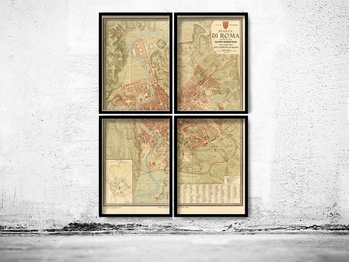 Old Map of Rome 1891 (4 pieces) - product images  of