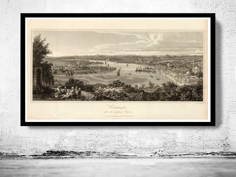Old,Constantinople,Istanbul,Panoramic,View,1811,Art,Reproduction,Open_Edition,city,vintage,plan,medieval,engraving,historic,panoramic,old_map,cosntantinople,instambul,constantinople_map,turkey,art_turkish