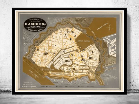 Old,Map,of,Hamburg,1845,Germany,hamburg, altona, hamburg map, hamburg poster, map of hamburg, hamburg plan, antique map,,antique, map