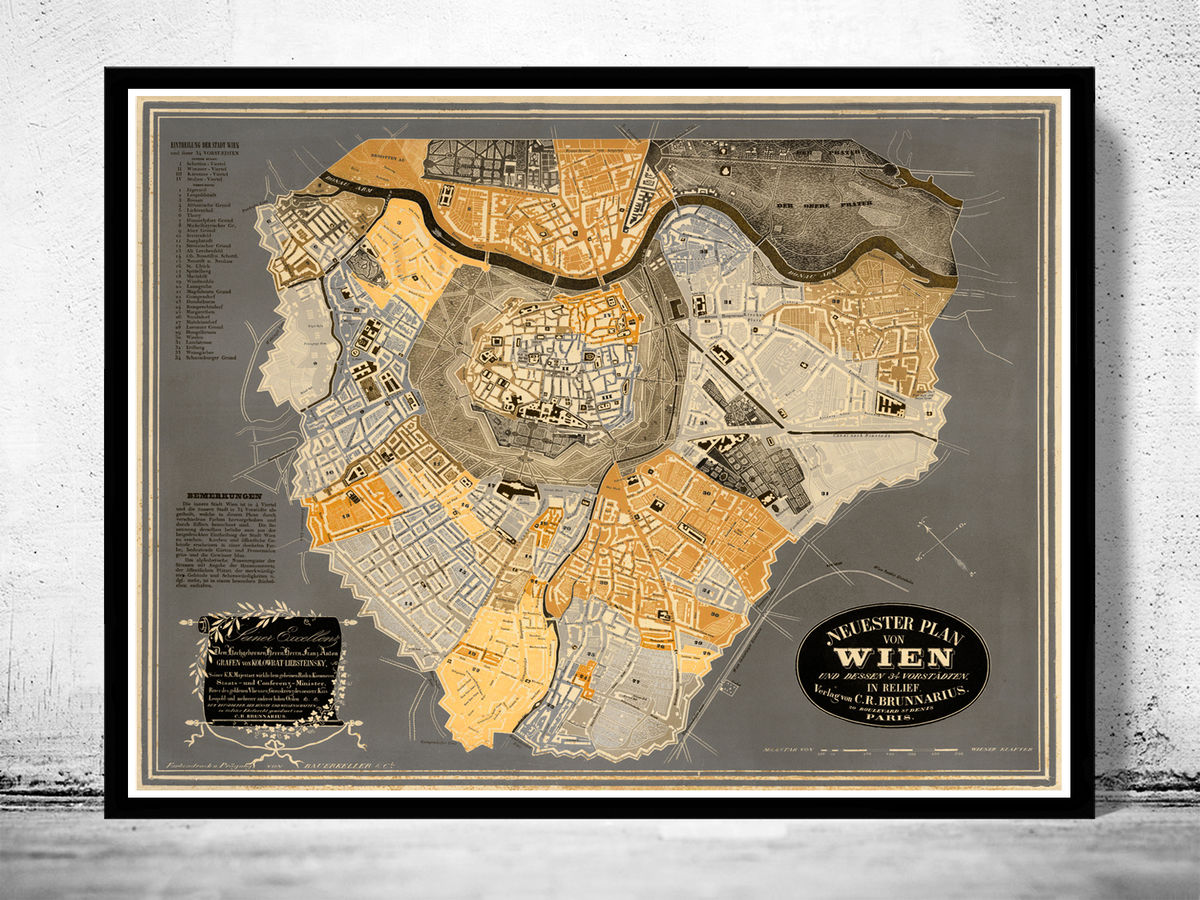 Old Map of Vienna Wien Austria 1843 - product images  of
