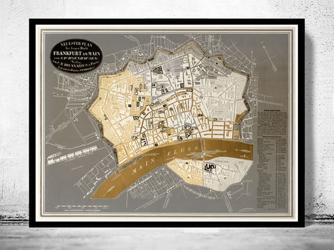 Old,Map,of,Frankfurt,Germany,1844,Art,Reproduction,Illustration,frankfurt,mayn,main,illustration,panoramic_view,antique,old_map,city_plan,frankfurt_map,map_of_frankfurt,frankfurt_retro,frankfurt_vintage