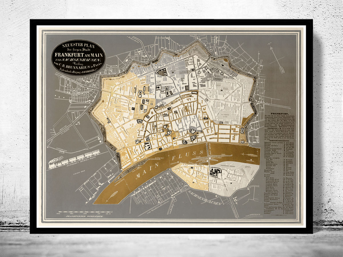 Old Map of Frankfurt Germany 1844 - product images  of