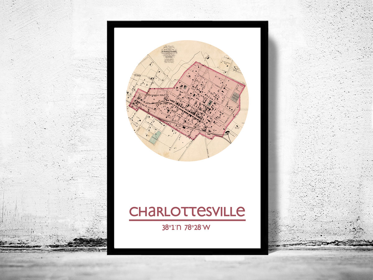 CHARLOTTESVILLE VA - city poster - city map poster print - product images  of