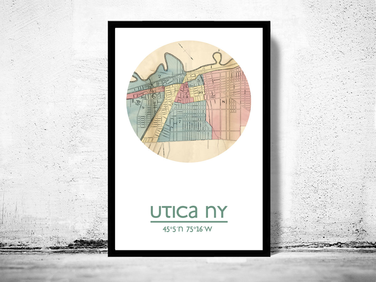UTICA NY - city poster - city map poster print - product images  of