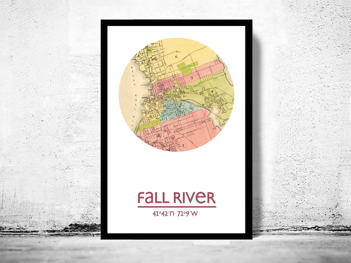 FALL RIVER - city poster - city map poster print - product images  of