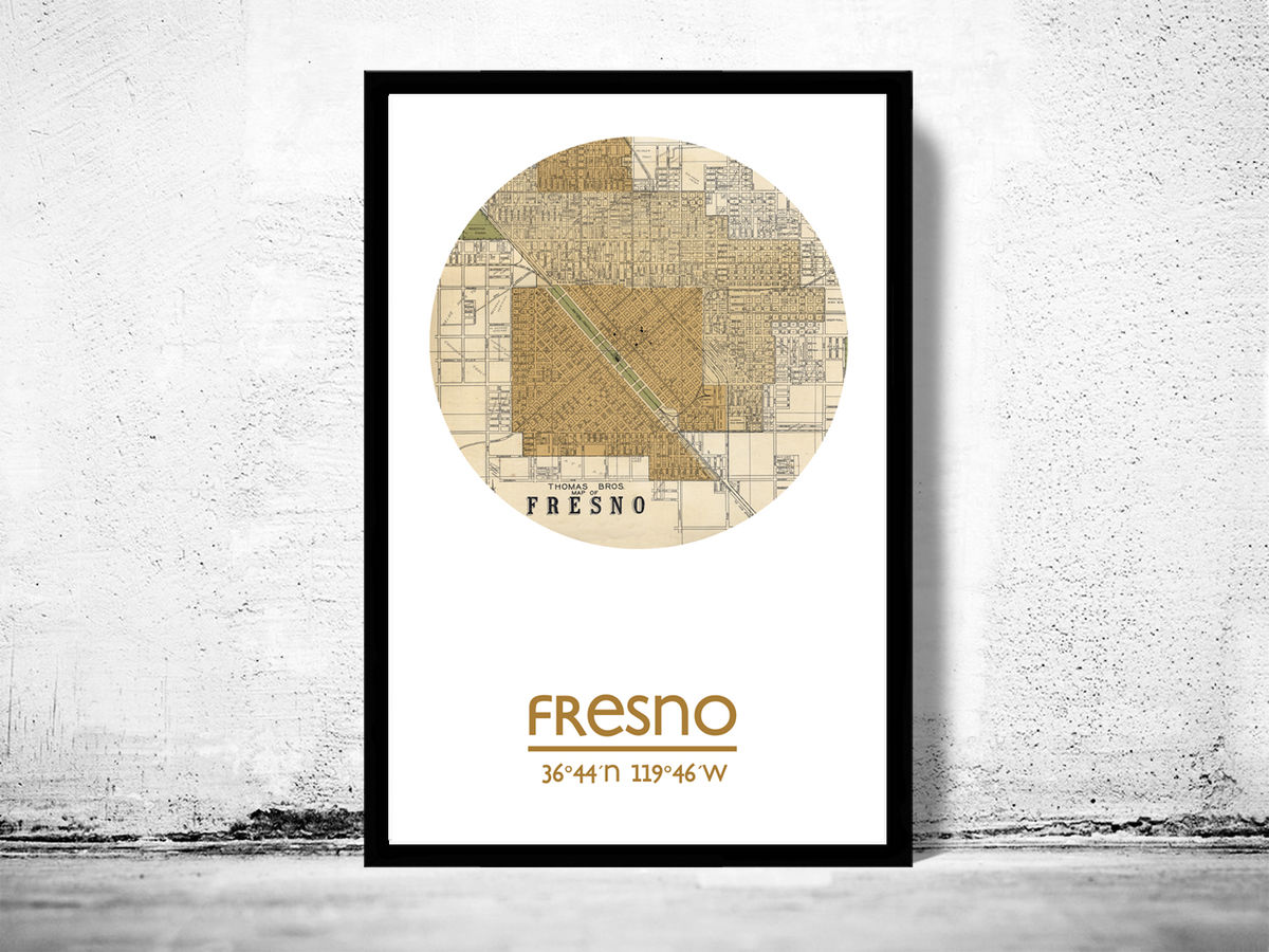 FRESNO CA - city poster - city map poster print - product images  of