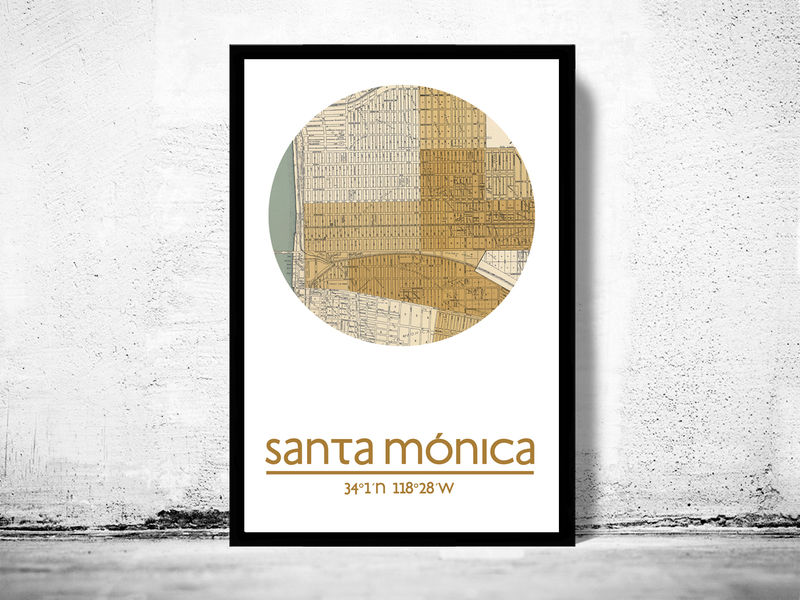 SANTA MONICA CA - city poster - city map poster print - product image