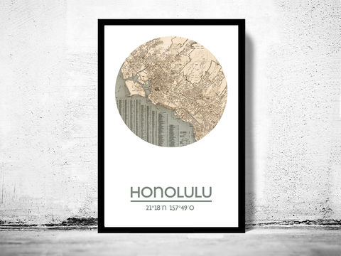 HONOLULU,-,city,poster,map,print, HONOLULU print,HONOLULU poster, HONOLULU Poster, HONOLULU map, wall decor, city,maps, travel poster