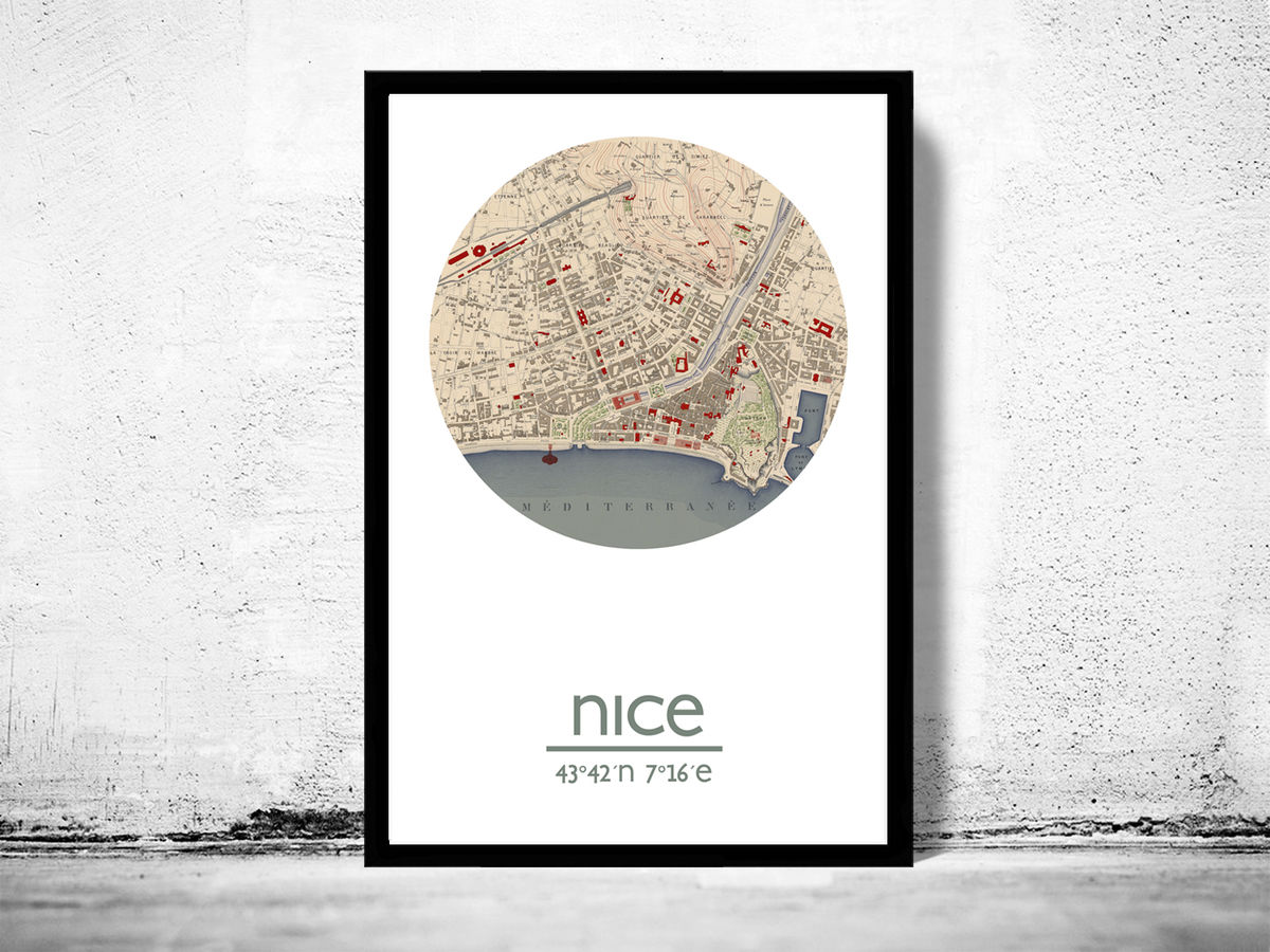 NICE - city poster - city map poster print - product images  of