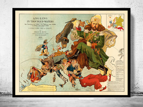 Vintage,Comic,Map,of,Europe,1899,comic map of Europe, Art,Reproduction,Open_Edition,France,Italy,Spain,England,Greece,Poland,Sweden,Norway,europe_map,comic,humour,old_map,vintage_map