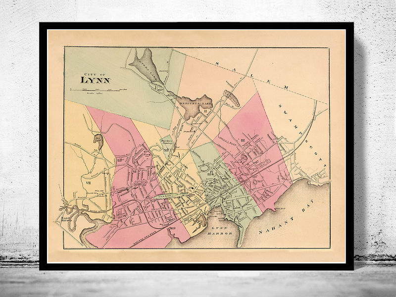 Old Map of Lynn 1871 Massachusetts  - product image