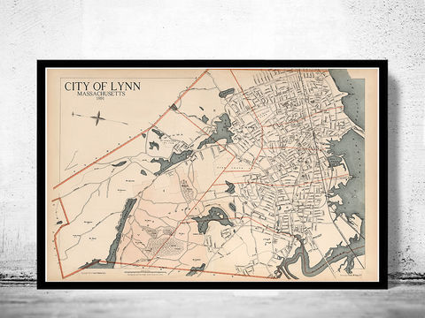 Old,Map,of,Lynn,1891,Massachusetts,old lynn map, lynn ma, lynn massachusetts, city of lynn, lynn poster, lynn print, old lynn, lynn, old maps
