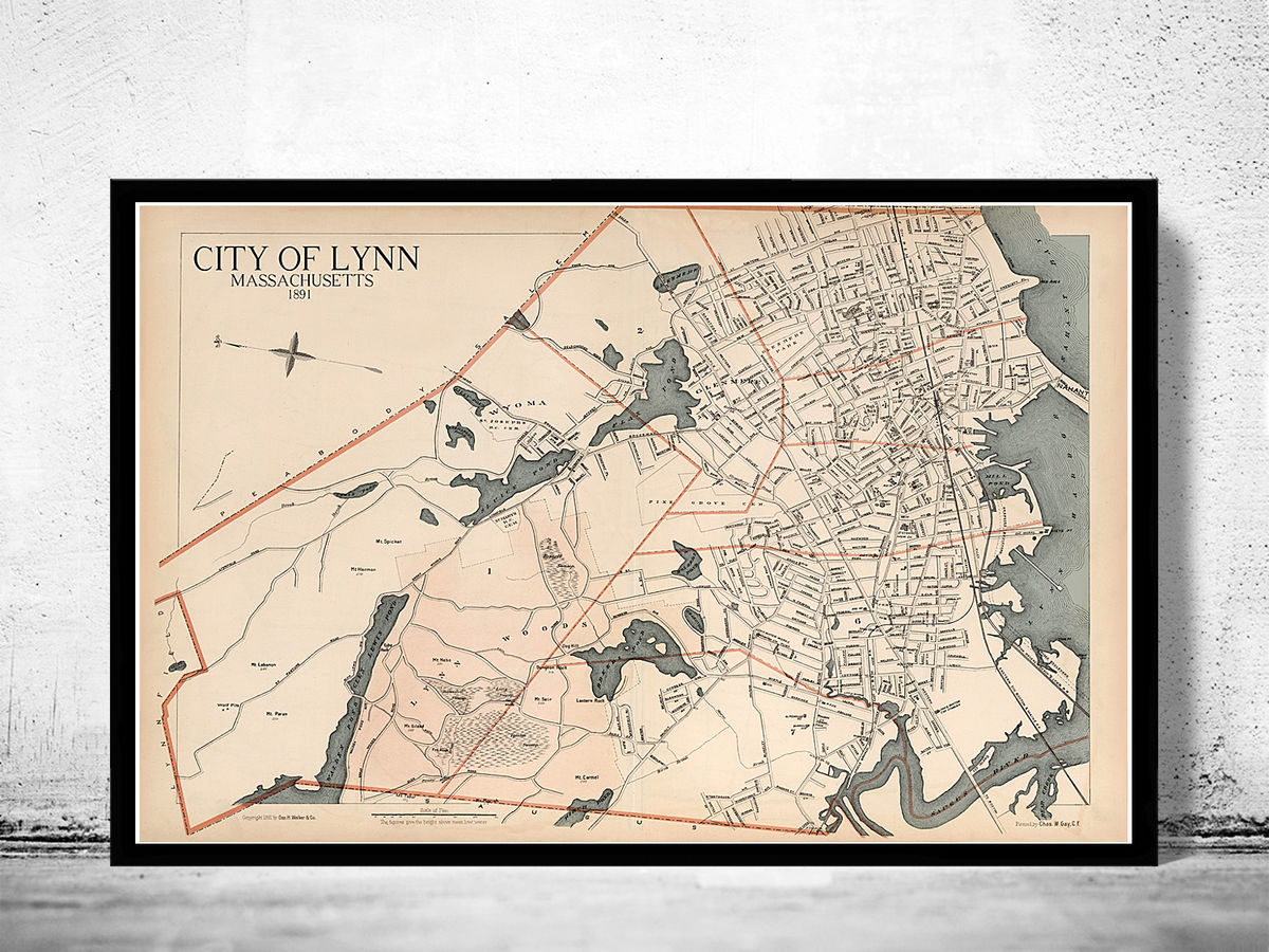 Old Map of Lynn 1891 Massachusetts  - product images  of