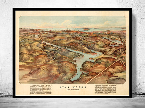 Old,Map,of,Lynn,Woods,1904,Massachusetts,lynn woods, old lynn map, lynn ma, lynn massachusetts, city of lynn, lynn poster, lynn print, old lynn, lynn, old maps