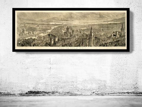 Old,Dublin,Panoramic,View,Ireland,1890,Art,Reproduction,Open_Edition,vintage,plan,illustration,city_map,retro,antique,Europe,ireland,dublin,1797,old_map,dublin_map,map_of_dublin
