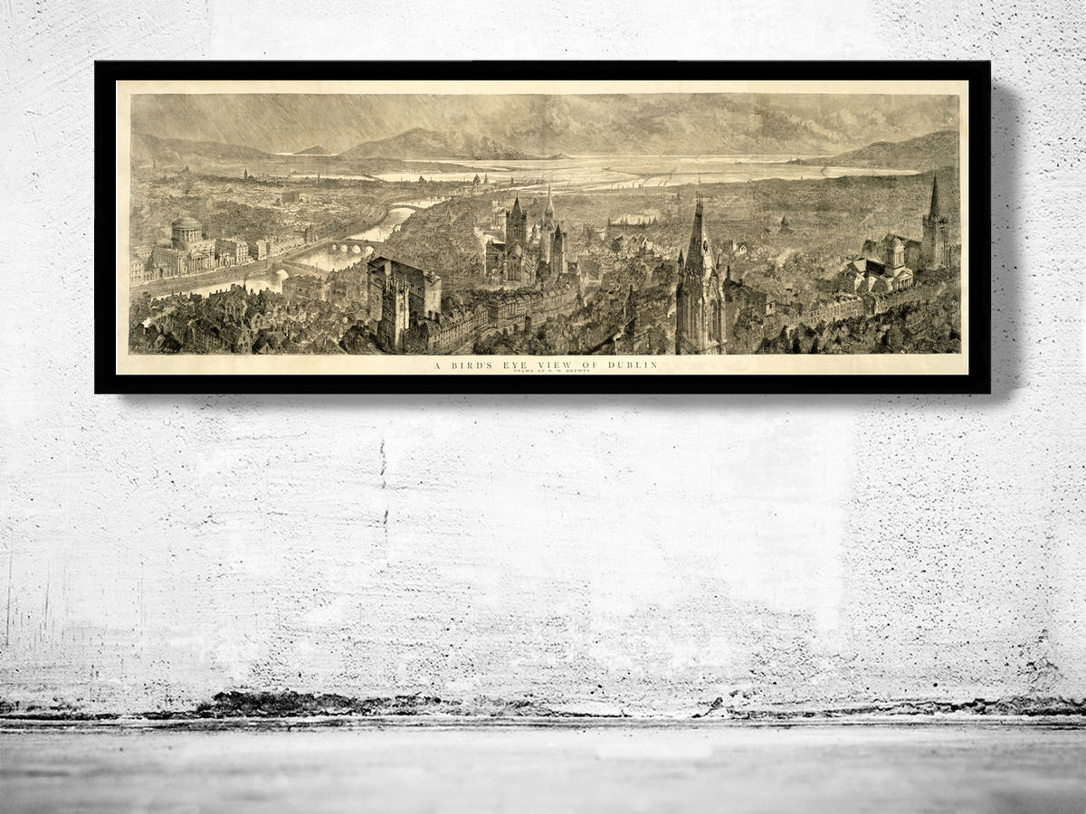 Old Dublin Panoramic View Ireland 1890 - product images  of