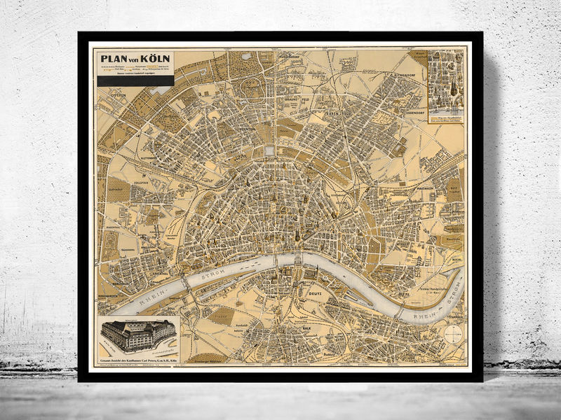 Old Map of Koln Cologne Germany 1930 - product image