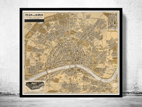 Old,Map,of,Koln,Cologne,Germany,1930,koln map, map of koln, koln germany, cologne, koln poster,old maps for sale, buy map, maps reproductions, map shop,  antique map,antique, map