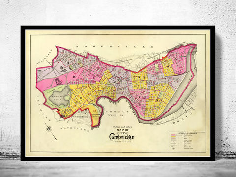 Old,Map,of,Cambridge,Massachusetts,1880,map of cambridge, cambridge, cambridge massachusetts, cambridge poster, map of cambridge, old map, vintage map