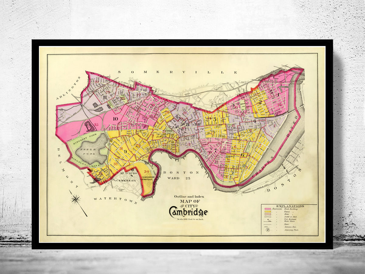 Old Map of Cambridge Massachusetts 1880 - product images  of