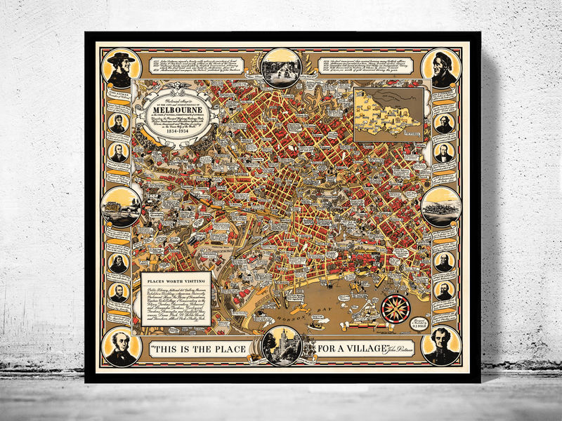 Old Map of Melbourne Australia 1934 - product image
