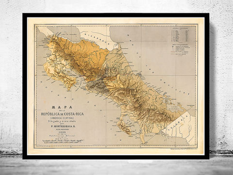 Old,Map,of,Costa,Rica,1889,costa rica map, map of costa rica, costa rica poster, costa rica gift, antique costa rica, costa rica island, antique maps, old maps for sale