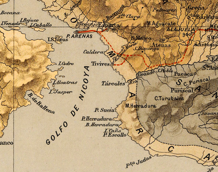 Old Map of Costa Rica 1889 - product images  of