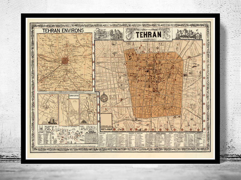 Old Map of Tehran Iran  - product image