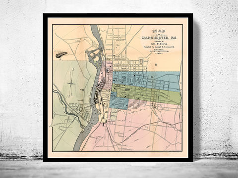 Old,map,of,Manchester,New,Hampshire,1876,manchester NH, manchester new hampshire, map of manchester nh, old map of manchester nh, mancherster nh print, old maps
