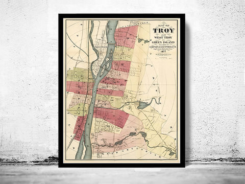Old,Map,of,Troy,New,York,1877,troy new york, troy map, map of troy, troy ny, troy poster