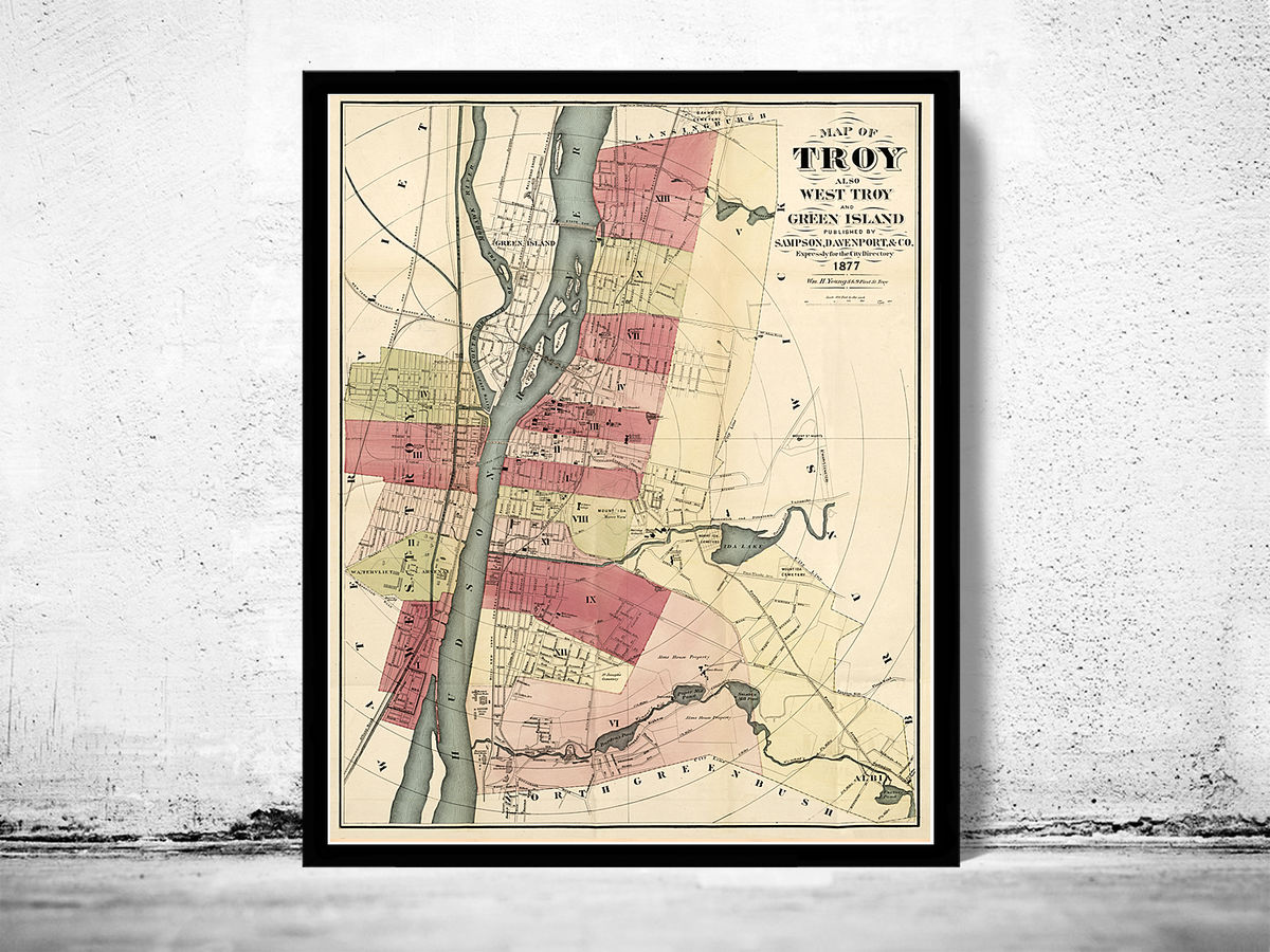 Old Map of Troy New York 1877 - product images  of
