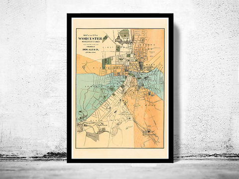 Old,Map,of,Worcester,Massachusetts,1877,map of worcester,worcester,worcester massachusetts, worcester poster, map of worcester, old map, vintage map, worcester ma