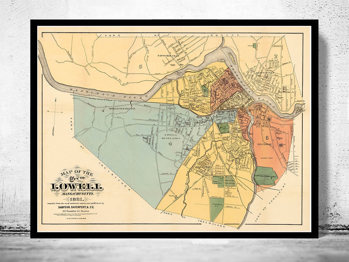 Old Map of Lowell Massachusetts 1881  - product images  of