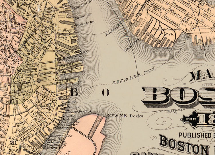 Old Map of Boston 1883 Massachusetts  - product image